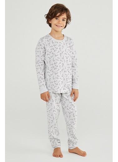 Penti Unisex Çocuk Renkli Candy Cane Gift 2'li Pijama Takım PN2PJT2I20SK Siyah